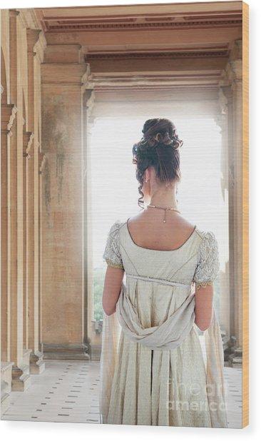 Regency Woman Under A Colonnade Wood Print