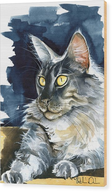 Regina - Maine Coon Painting Wood Print