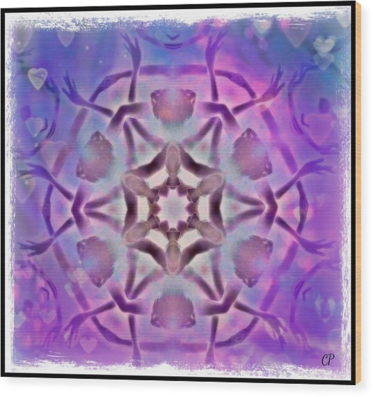Reiki Infused Healing Hands Mandala Wood Print