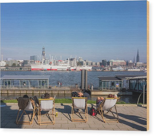 Relax On The Elbe Wood Print