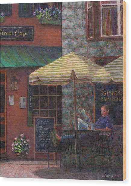 Relaxing At The Cafe Wood Print