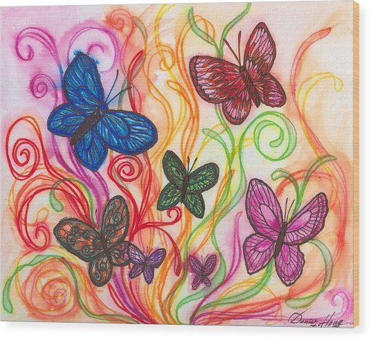 Releasing Butterflies I Wood Print