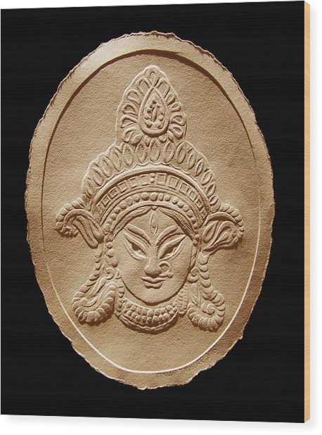 Relief Drawing Of Goddess Durga Devi  Wood Print