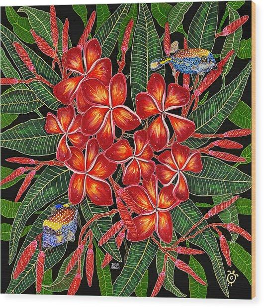 Tropical Fish Plumerias Wood Print