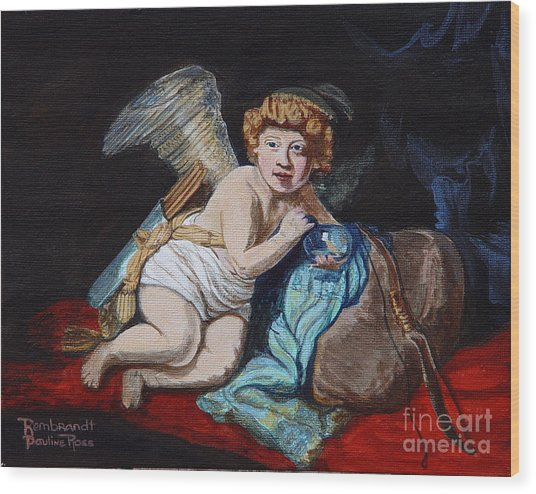 Rembrandts Cupid With A Soap Bubble With My Sons Face. Wood Print by Pauline Ross