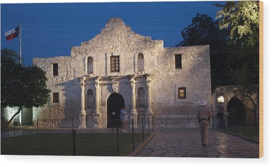 Remember The Alamo Wood Print by Dennis Stein