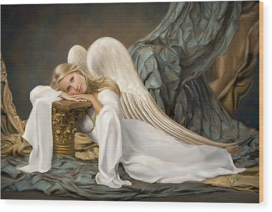Renaissance Angel Wood Print by Daria Doyle