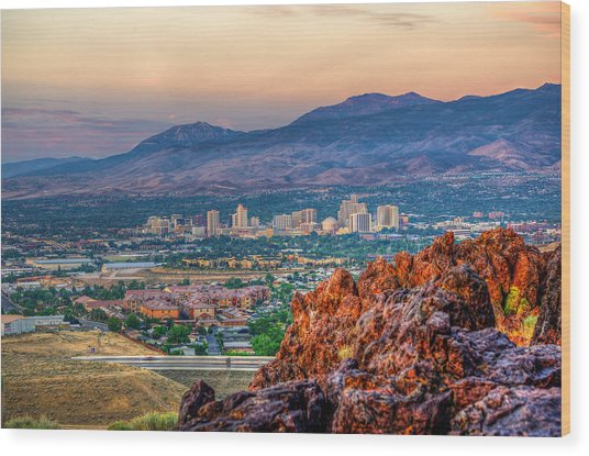 Reno Nevada Cityscape At Sunrise Wood Print