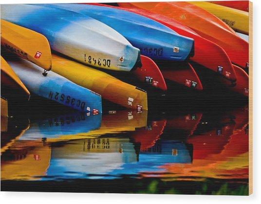Rental Canoes Wood Print