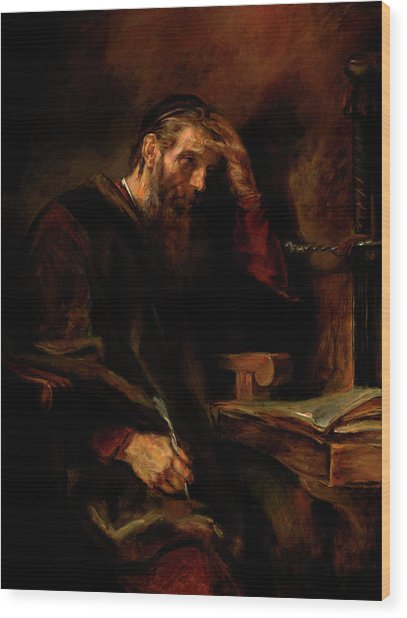 Replica Of Rembrandt's Apostle Paul Wood Print