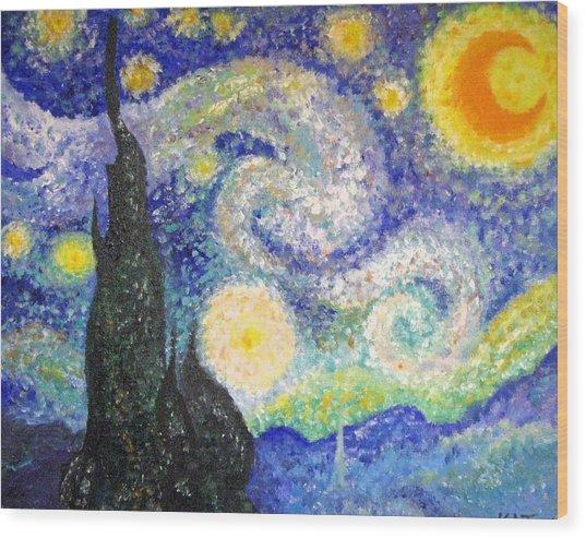 Replica Of Van Gogh Wood Print by Katerina Wagner