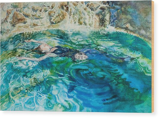 Repose In A Pool In France Wood Print by Gilly Marklew