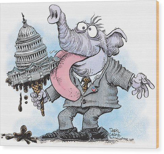 Republicans Lick Congress Wood Print