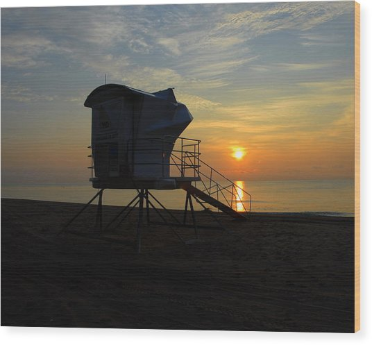 Rescue Tower Sunrise Wood Print by Zachary Liaros