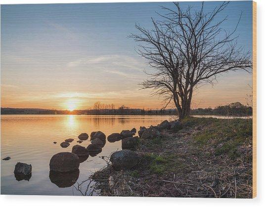 Reservoir Sunset Wood Print