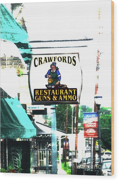 Restaurant Guns And  Ammo  Wood Print by Steven Digman