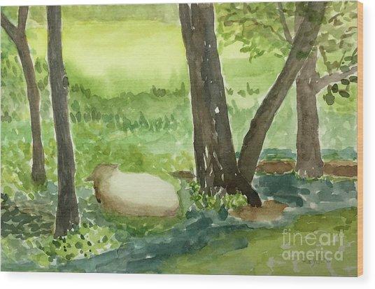 Restful Lamb Wood Print by Sheryl Paris