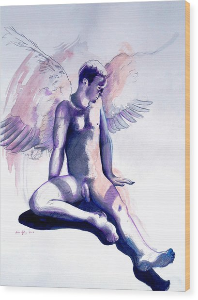 Wood Print featuring the painting Resting Angel by Rene Capone