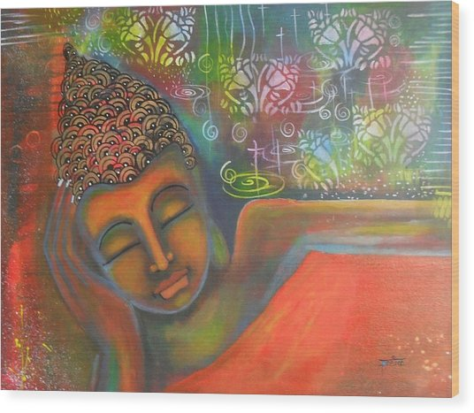 Buddha Resting Against A Colorful Backdrop Wood Print