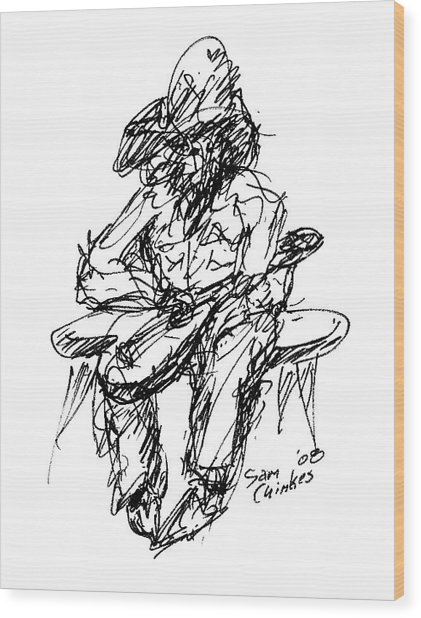 Resting Guitarist Wood Print by Sam Chinkes