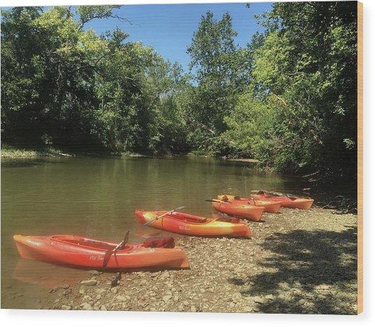 Resting Kayaks Wood Print