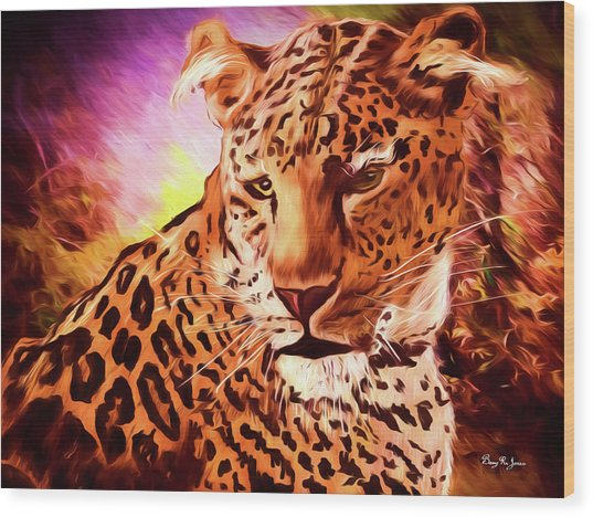Wood Print featuring the digital art Resting Leopard by Barry Jones