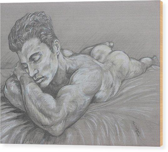 Resting Nude Wood Print