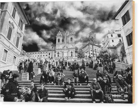 Resting On The Spanish Steps Wood Print by John Rizzuto