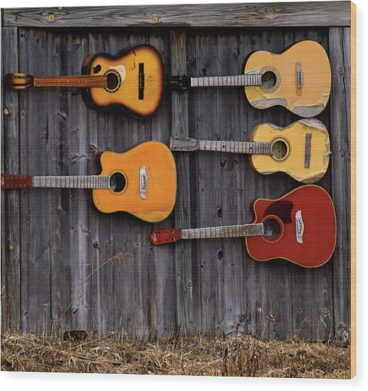 Retired Guitars  Wood Print