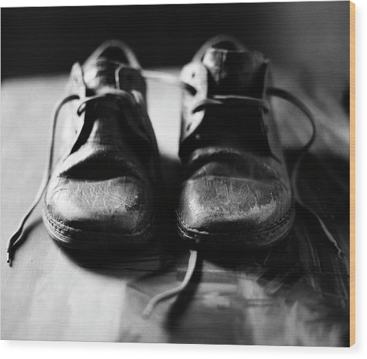 Retired Old Shoes Wood Print