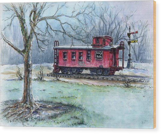 Retired Red Caboose Wood Print