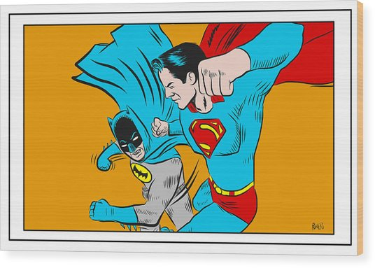Wood Print featuring the digital art Retro Batman V Superman by Antonio Romero