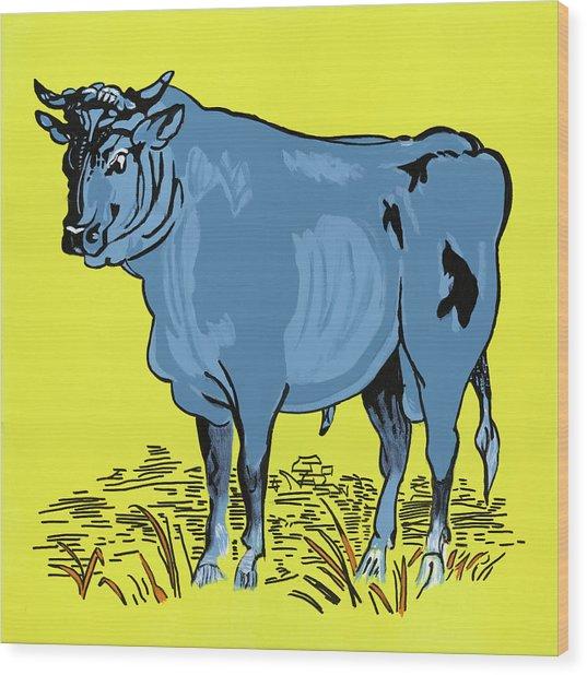 Retro Bull Wood Print by Sonja Olson