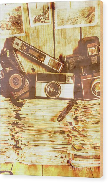 Retro Film Cameras Wood Print