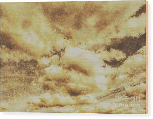 Retro Grunge Cloudy Sky Background Wood Print