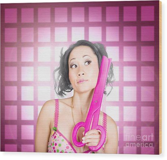 Retro Hairdresser Holding Big Pair Of Scissors Wood Print