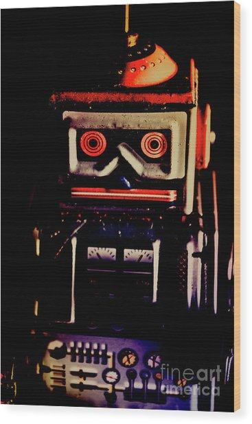 Retro Mechanical Robotics Wood Print