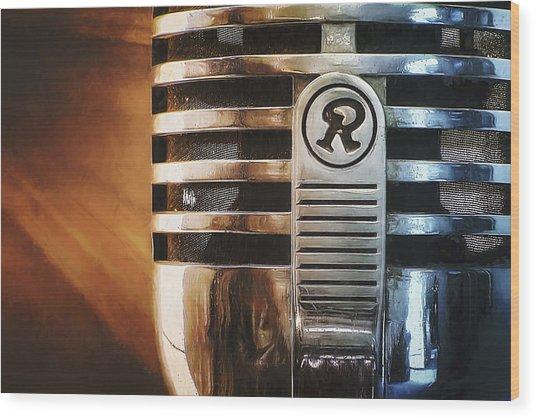 Retro Microphone Wood Print