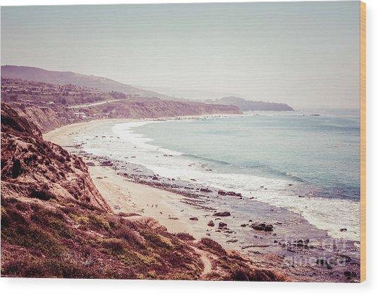 Retro Photo Of Laguna Beach California Wood Print by Paul Velgos