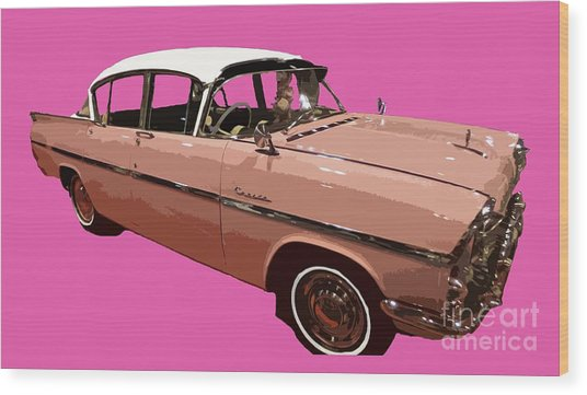 Retro Pink Car Art Wood Print