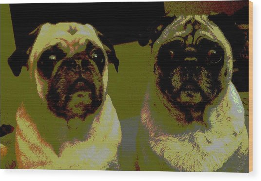 Retro Pugs Wood Print by HP Hwang