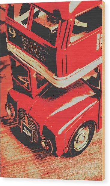 Retro Red Britain Wood Print