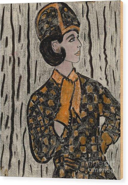 Retro Sixties Model In Black And Orange Wood Print