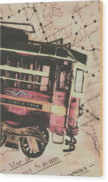 Retro Streets And Urban Trams Wood Print