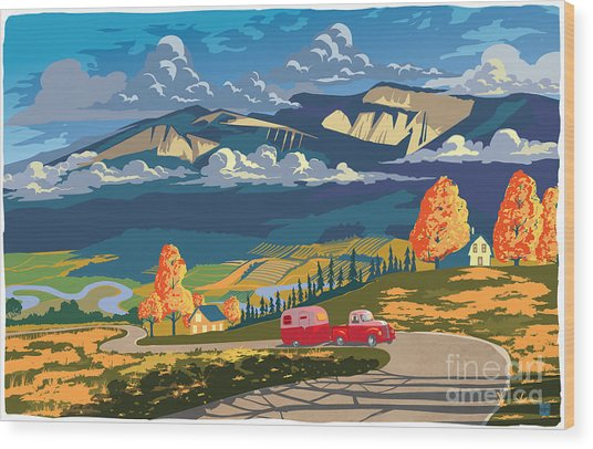 Retro Travel Autumn Landscape Wood Print