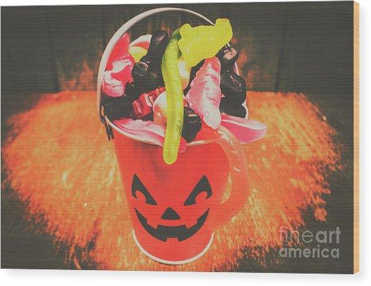 Retro Trick Or Treat Pumpkin Head  Wood Print
