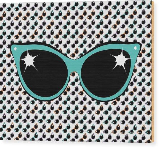 Retro Turquoise Cat Sunglasses Wood Print