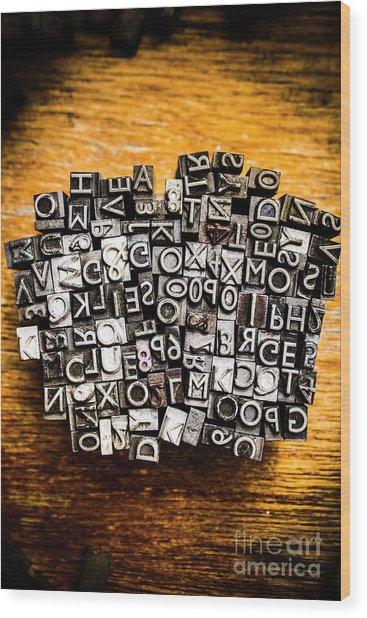 Retro Typesetting In Print Wood Print