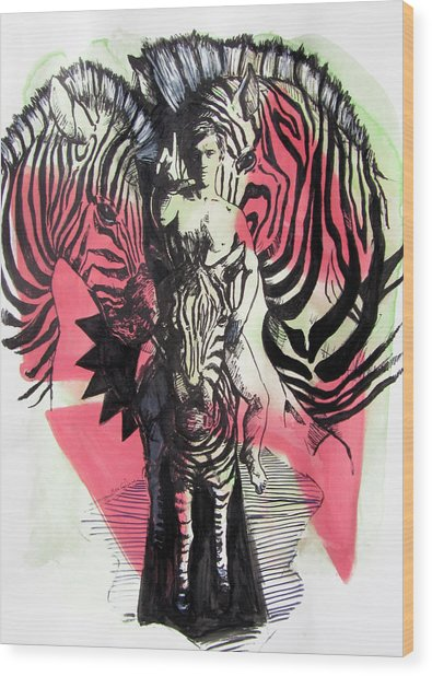 Return Of Zebra Boy Wood Print