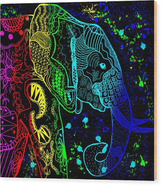 Rainbow Zentangle Elephant With Black Background Wood Print